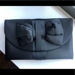 Saks Fifth Avenue Black Bow Clutch